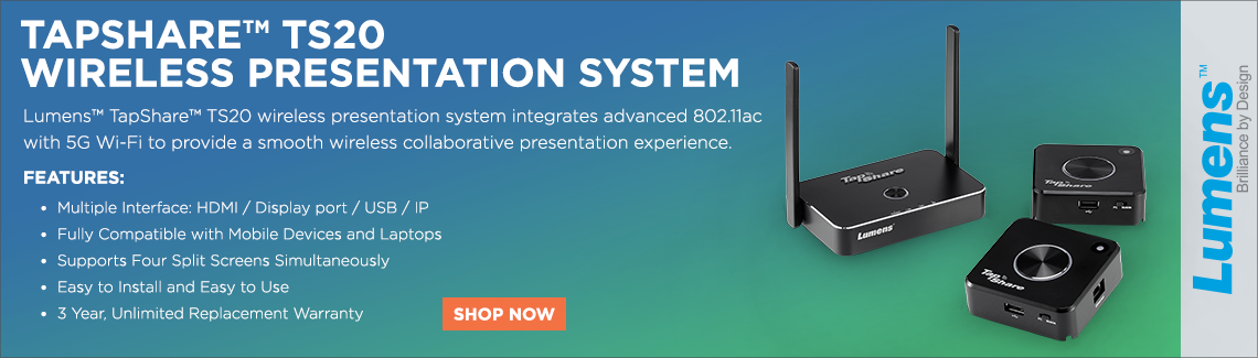 Lumens Tapshare TS20 Wireless Presentation System. Lumens Tapshare TS20 wireless presentation system integrates advanced 802.11ac with 5G wi-fi to provide a smooth wireless collaborative presentation experience.